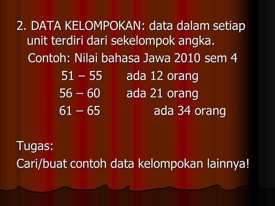 2. DATA KELOMPOKAN: data dalam setiap unit terdiri dari sekelompok angka.