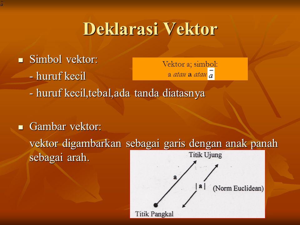 Deklarasi Vektor Simbol vektor: - huruf kecil