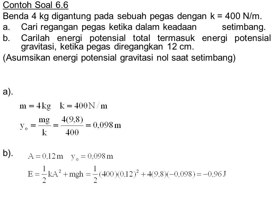 Contoh Soal 6.6 Benda 4 kg digantung pada sebuah pegas dengan k = 400 N/m. a. Cari regangan pegas ketika dalam keadaan setimbang.