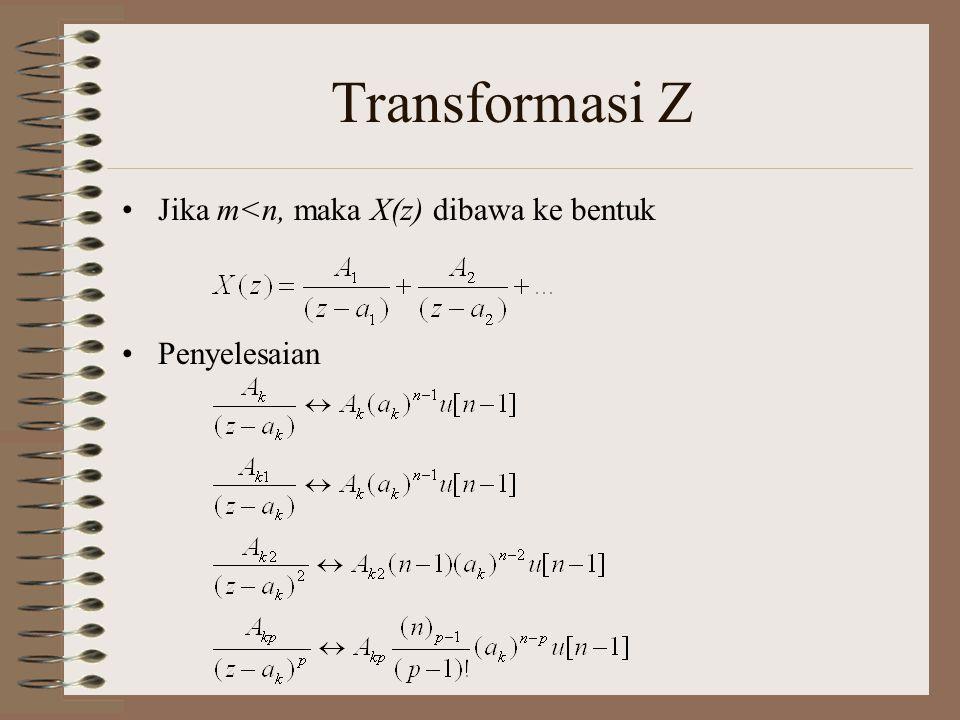 Transformasi Z Jika m<n, maka X(z) dibawa ke bentuk Penyelesaian