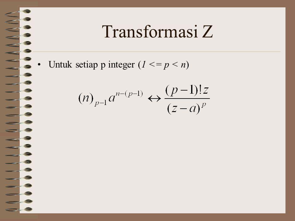 Transformasi Z Untuk setiap p integer (1 <= p < n)