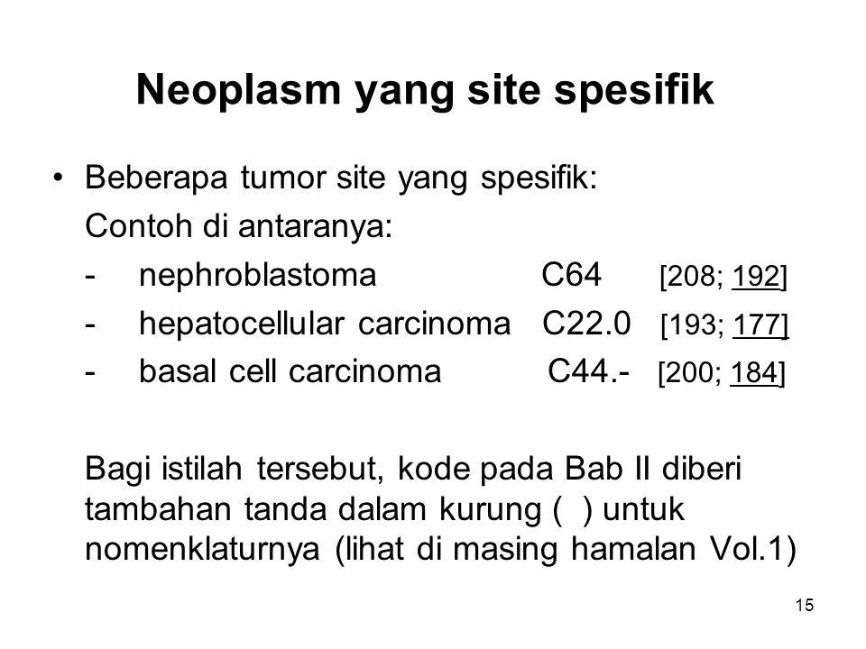 Neoplasm yang site spesifik