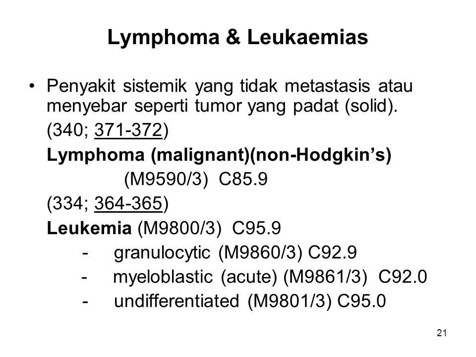 Lymphoma & Leukaemias Penyakit sistemik yang tidak metastasis atau menyebar seperti tumor yang padat (solid).