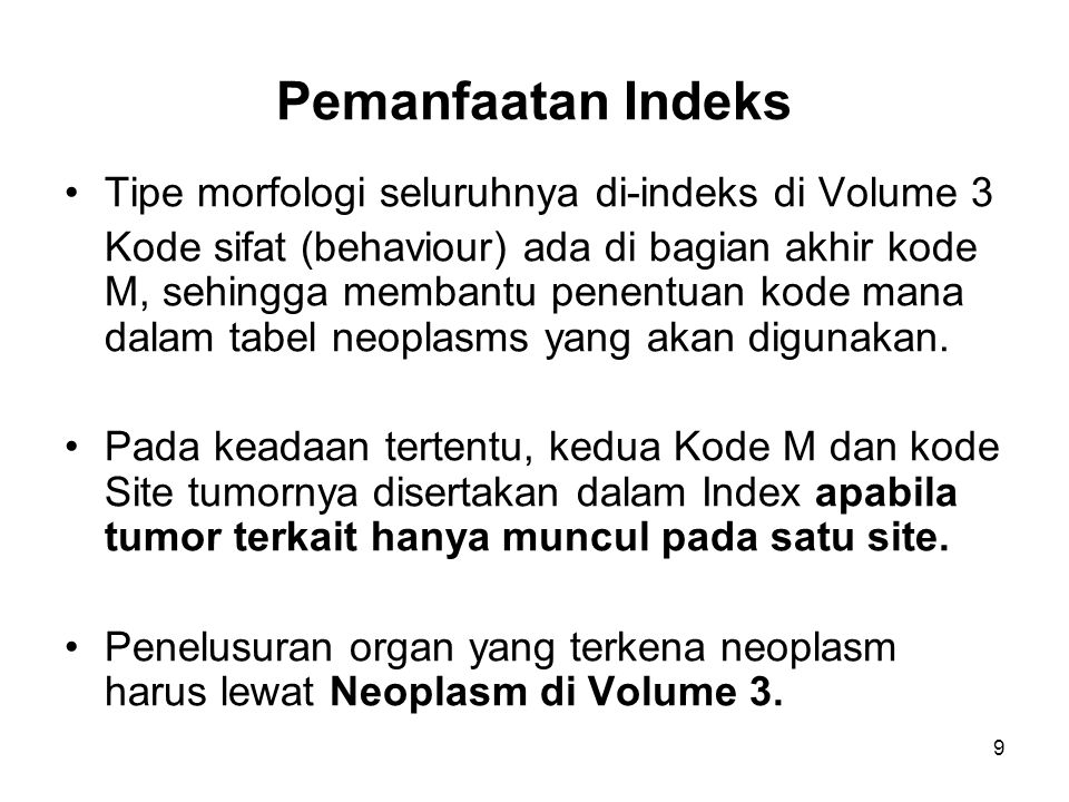 Pemanfaatan Indeks Tipe morfologi seluruhnya di-indeks di Volume 3