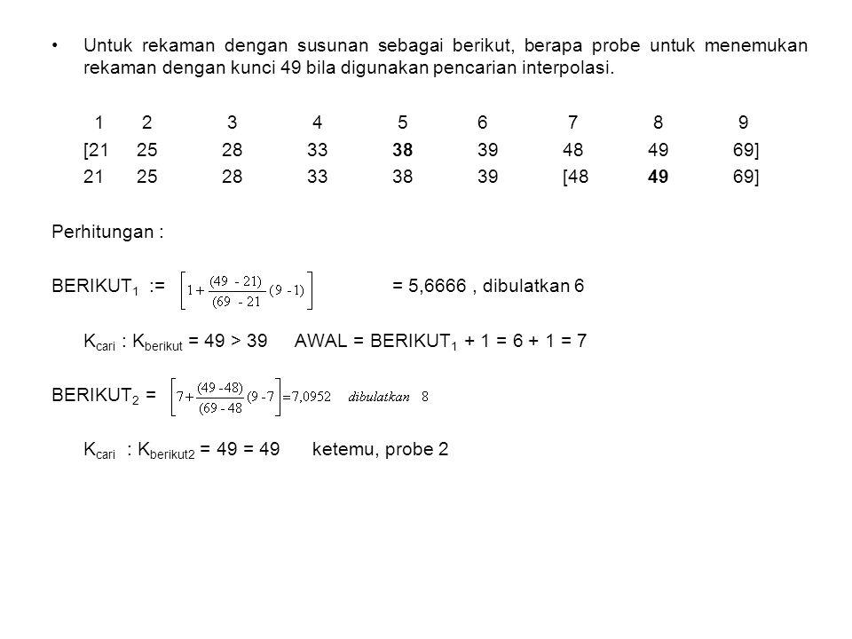 Untuk rekaman dengan susunan sebagai berikut, berapa probe untuk menemukan rekaman dengan kunci 49 bila digunakan pencarian interpolasi.