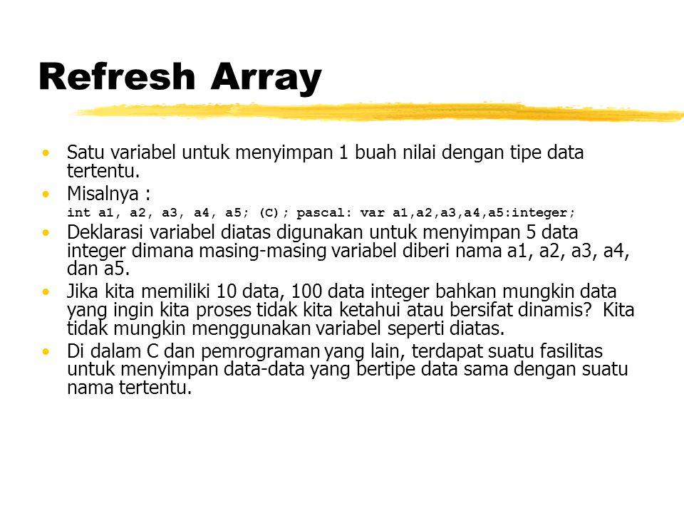 Refresh Array Satu variabel untuk menyimpan 1 buah nilai dengan tipe data tertentu. Misalnya :