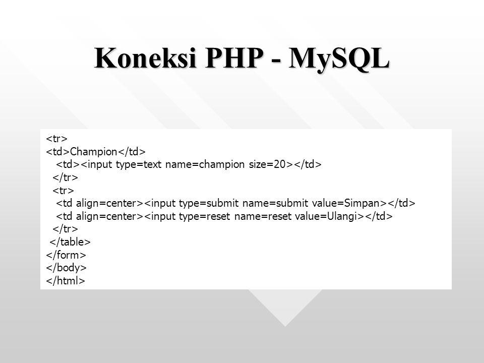 Koneksi PHP - MySQL <tr> <td>Champion</td>