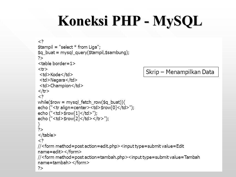 Koneksi PHP - MySQL Skrip – Menampilkan Data <