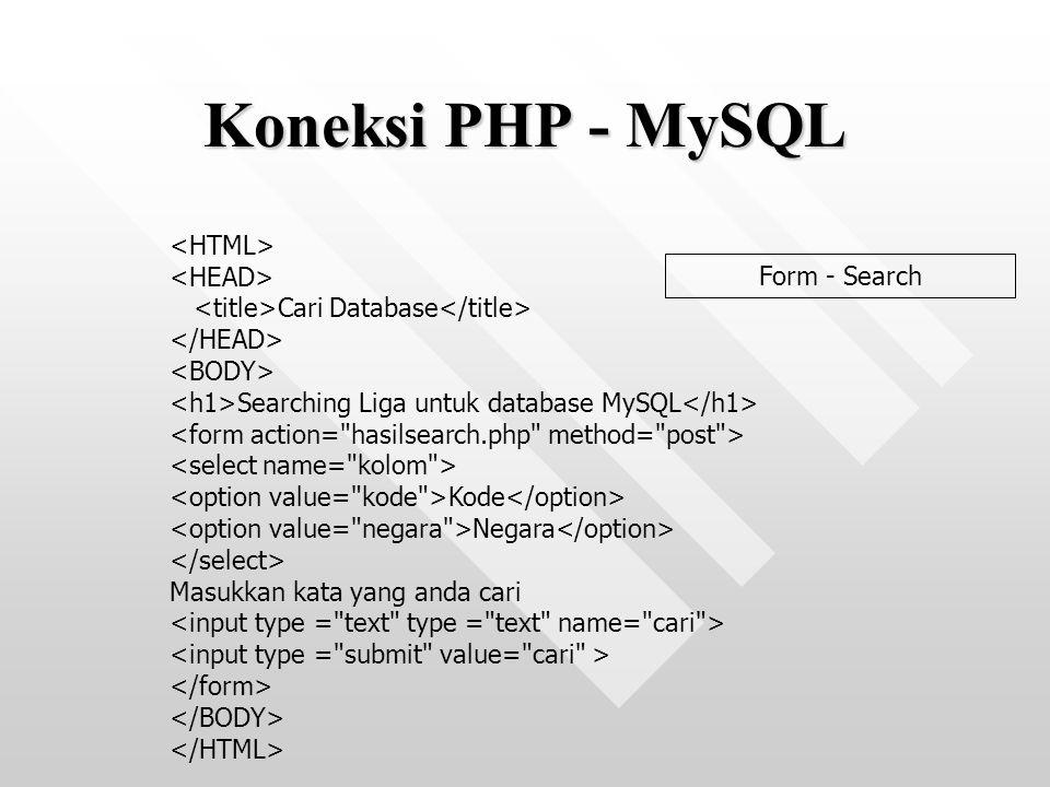 Koneksi PHP - MySQL <HTML> <HEAD>