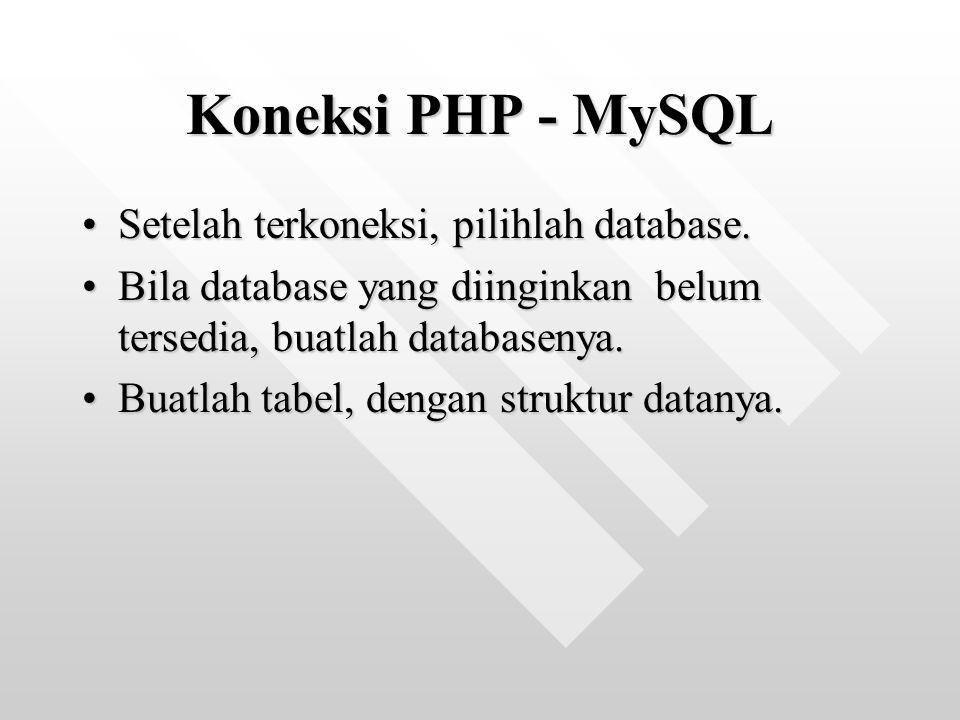 Koneksi PHP - MySQL Setelah terkoneksi, pilihlah database.