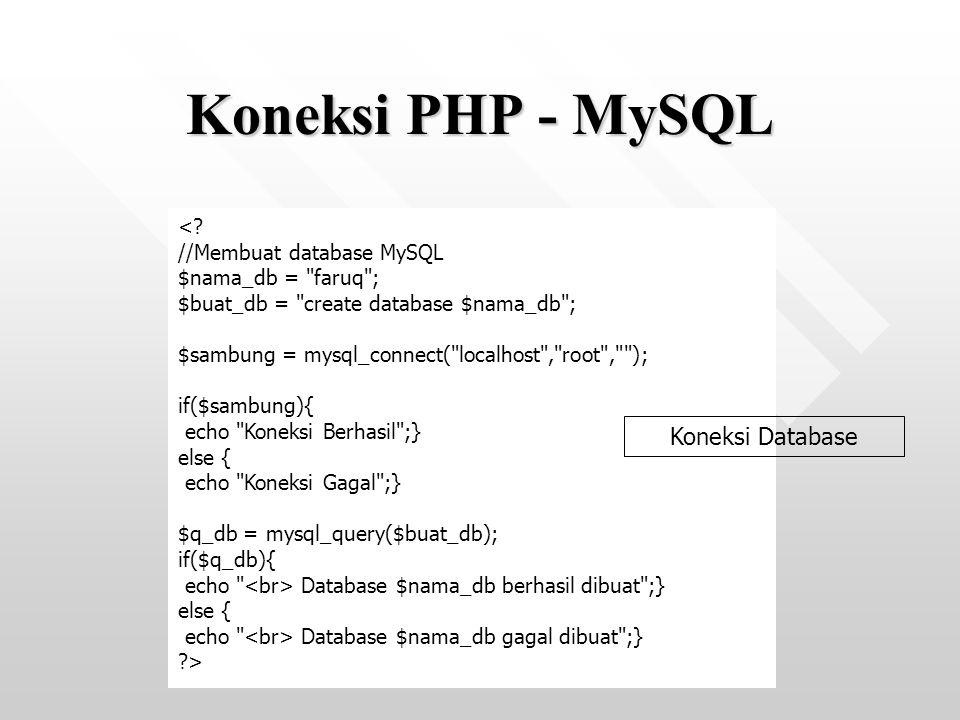 Koneksi PHP - MySQL Koneksi Database < //Membuat database MySQL
