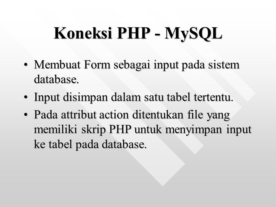 Koneksi PHP - MySQL Membuat Form sebagai input pada sistem database.