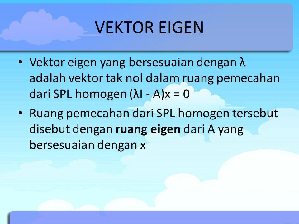 VEKTOR EIGEN Vektor eigen yang bersesuaian dengan λ adalah vektor tak nol dalam ruang pemecahan dari SPL homogen (λI - A)x = 0.
