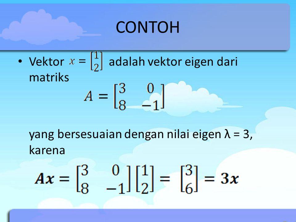 CONTOH Vektor adalah vektor eigen dari matriks