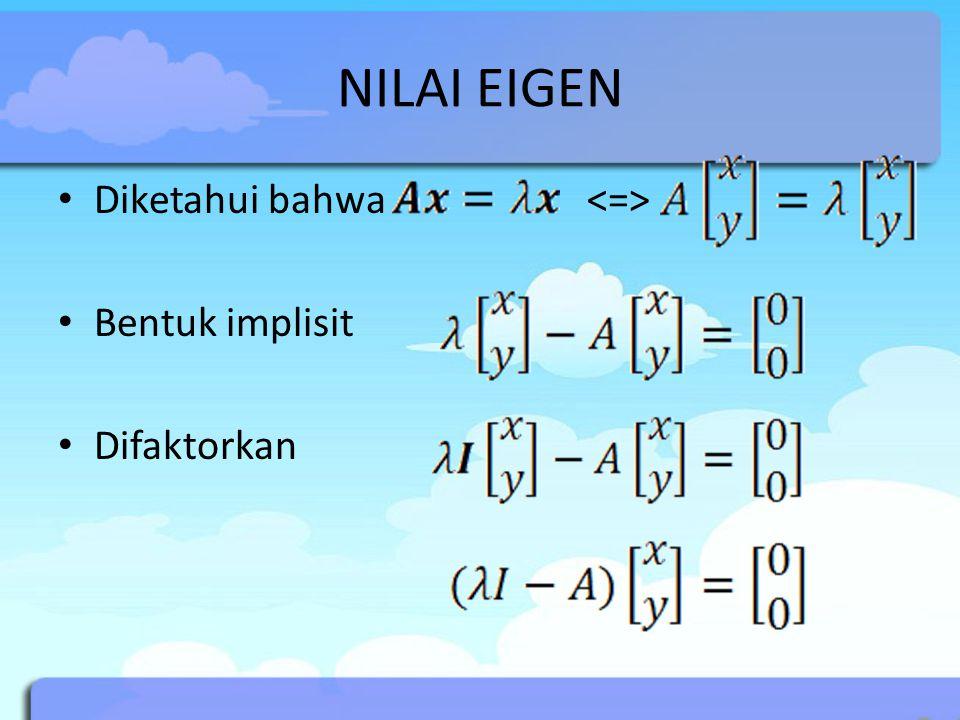 NILAI EIGEN Diketahui bahwa <=> Bentuk implisit Difaktorkan