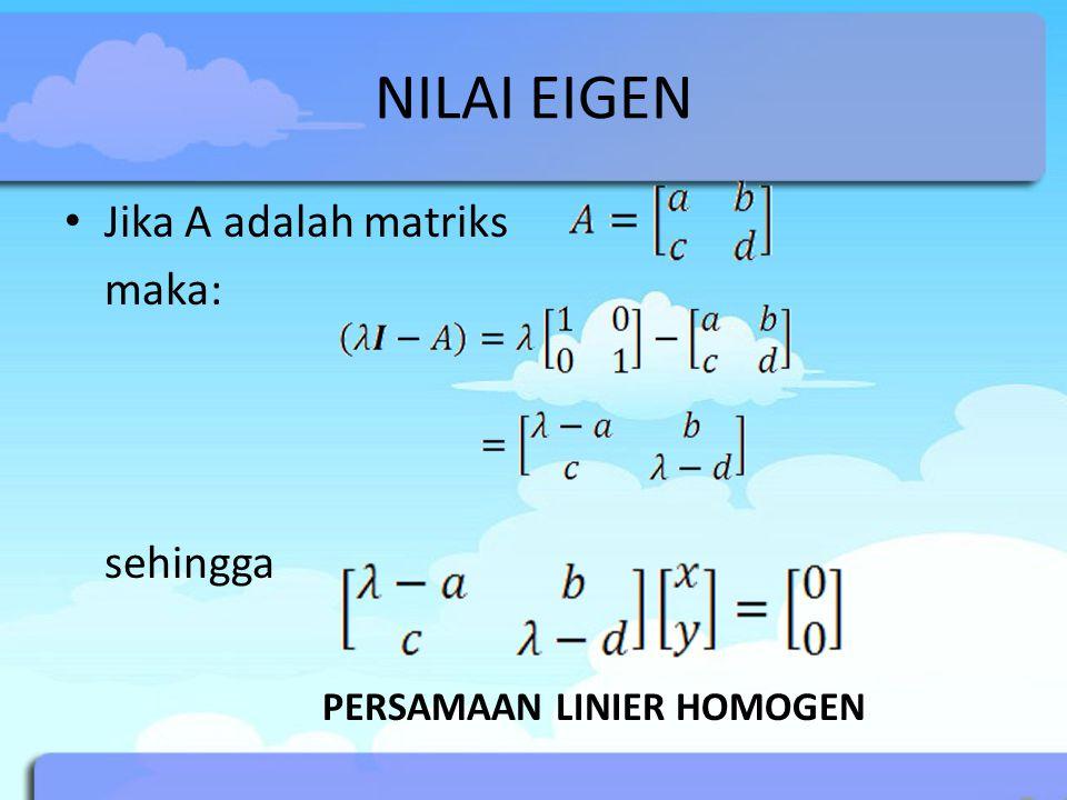 NILAI EIGEN Jika A adalah matriks maka: sehingga