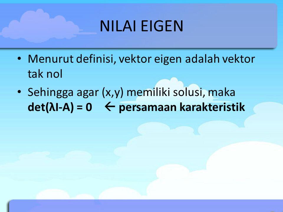 NILAI EIGEN Menurut definisi, vektor eigen adalah vektor tak nol
