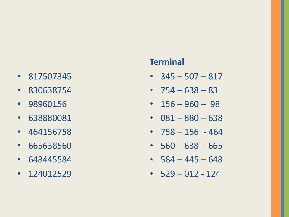Terminal 817507345. 830638754. 98960156. 638880081. 464156758. 665638560. 648445584. 124012529.
