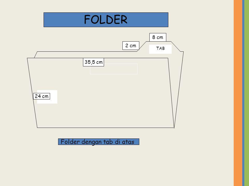 FOLDER 8 cm TAB 2 cm 35,5 cm 24 cm Folder dengan tab di atas