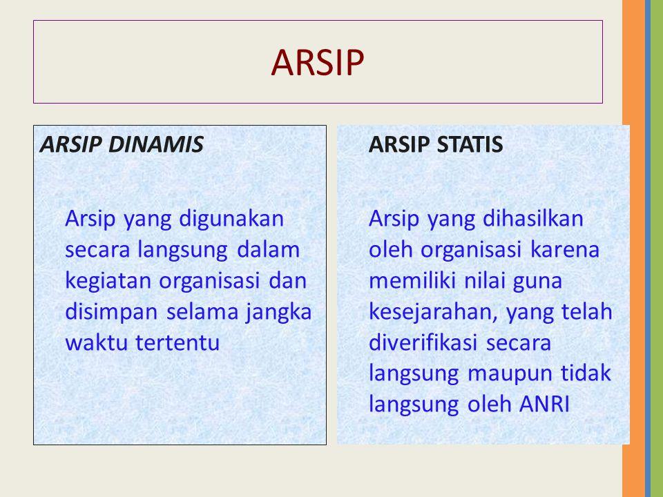 ARSIP ARSIP DINAMIS. Arsip yang digunakan secara langsung dalam kegiatan organisasi dan disimpan selama jangka waktu tertentu.