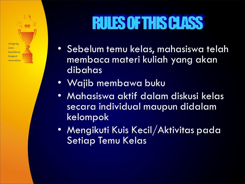 RULES OF THIS CLASS Sebelum temu kelas, mahasiswa telah membaca materi kuliah yang akan dibahas. Wajib membawa buku.