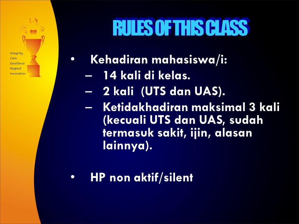 RULES OF THIS CLASS Kehadiran mahasiswa/i: 14 kali di kelas.