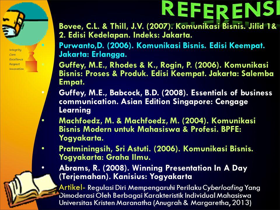 REFERENSI Bovee, C.L. & Thill, J.V. (2007). Komunikasi Bisnis. Jilid 1& 2. Edisi Kedelapan. Indeks: Jakarta.