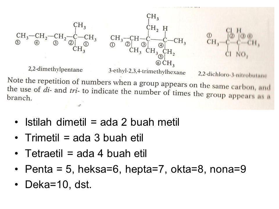 Istilah dimetil = ada 2 buah metil