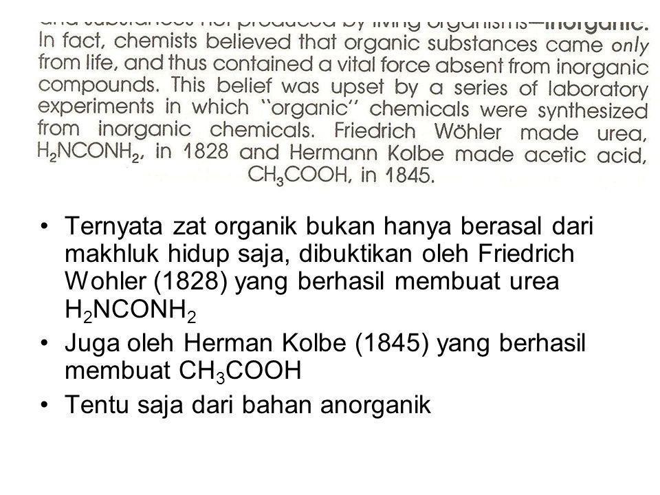 Ternyata zat organik bukan hanya berasal dari makhluk hidup saja, dibuktikan oleh Friedrich Wohler (1828) yang berhasil membuat urea H2NCONH2