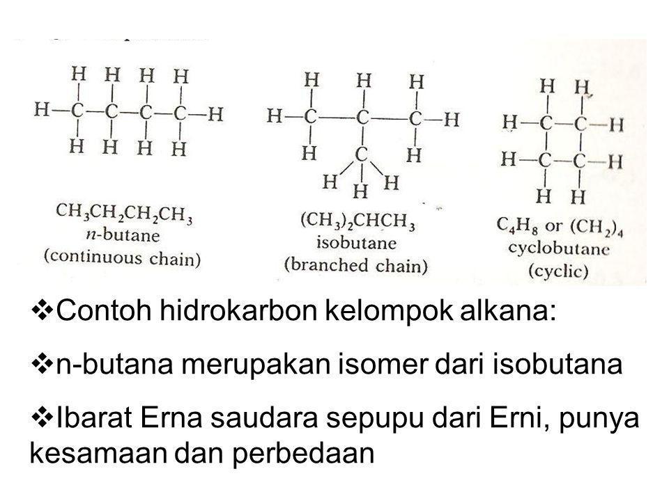 Contoh hidrokarbon kelompok alkana: