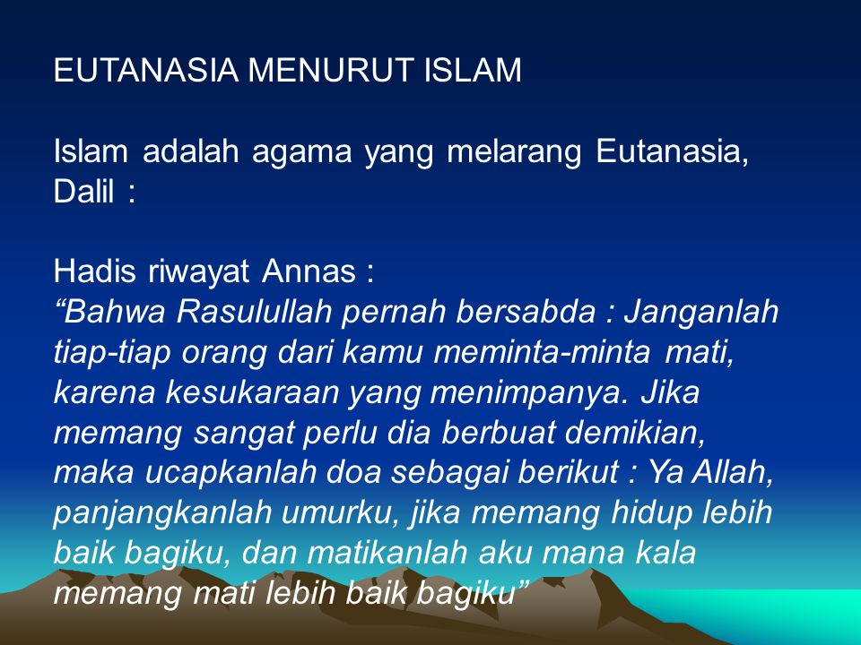 EUTANASIA MENURUT ISLAM