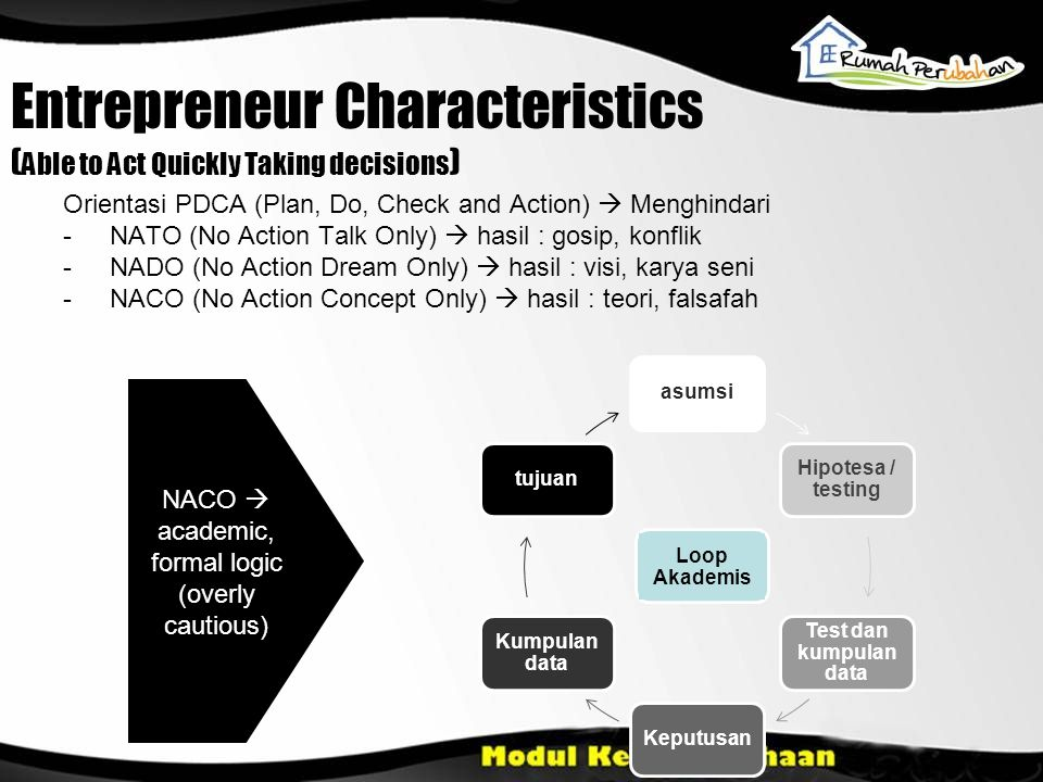 Entrepreneur Characteristics (Able to Act Quickly Taking decisions)