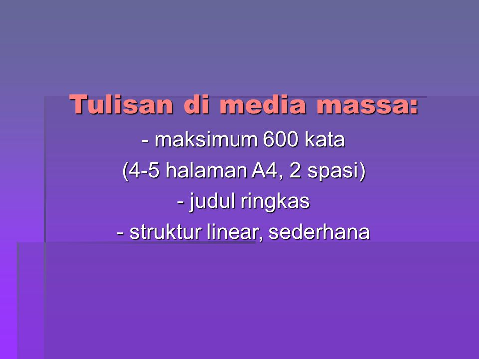 Tulisan di media massa: