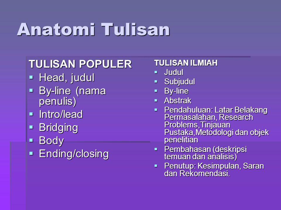 Anatomi Tulisan TULISAN POPULER Head, judul By-line (nama penulis)