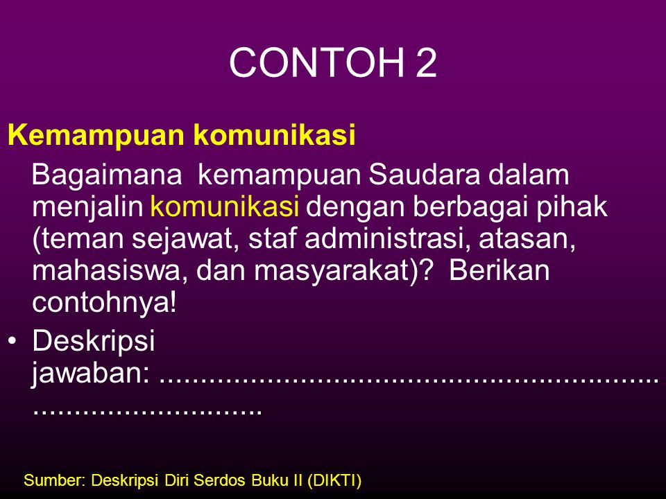 CONTOH 2 Kemampuan komunikasi