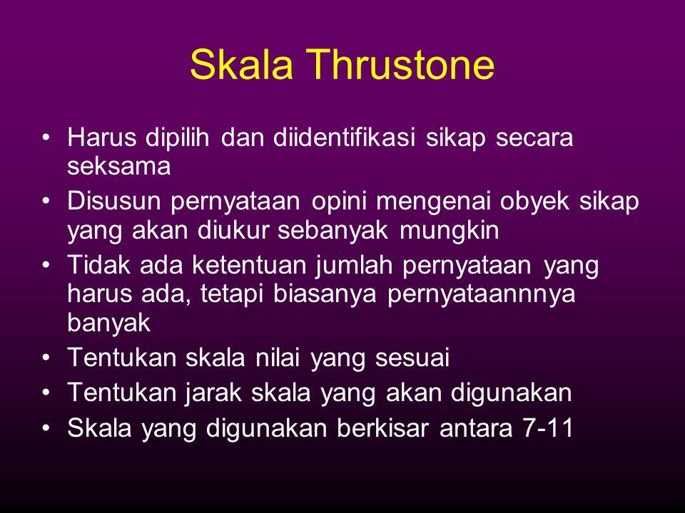 Skala Thrustone Harus dipilih dan diidentifikasi sikap secara seksama
