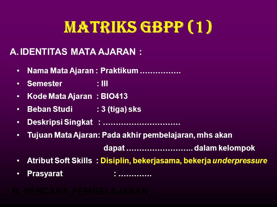MATRIKS GBPP (1) IDENTITAS MATA AJARAN : B. RENCANA PEMBELAJARAN :