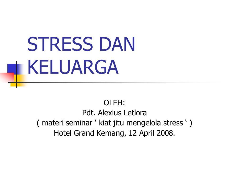 STRESS DAN KELUARGA OLEH: Pdt. Alexius Letlora