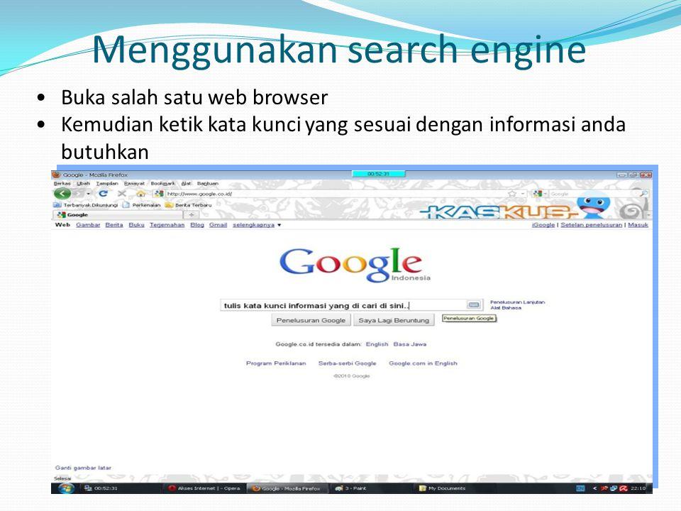 Menggunakan search engine