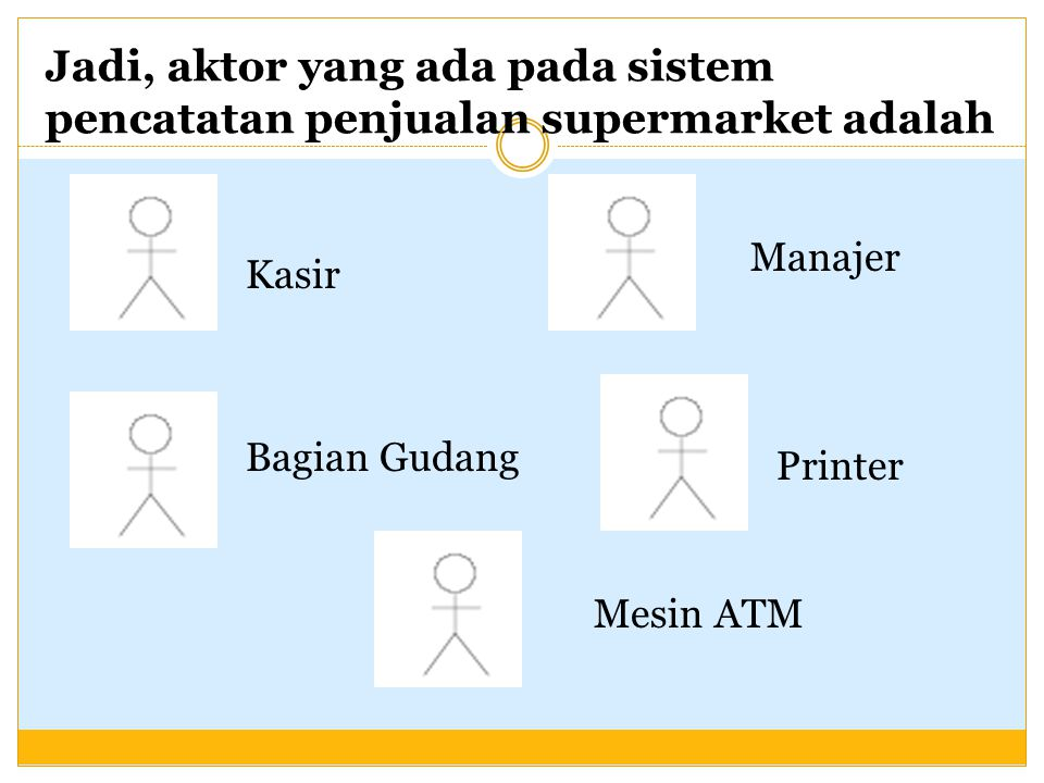 Jadi, aktor yang ada pada sistem pencatatan penjualan supermarket adalah