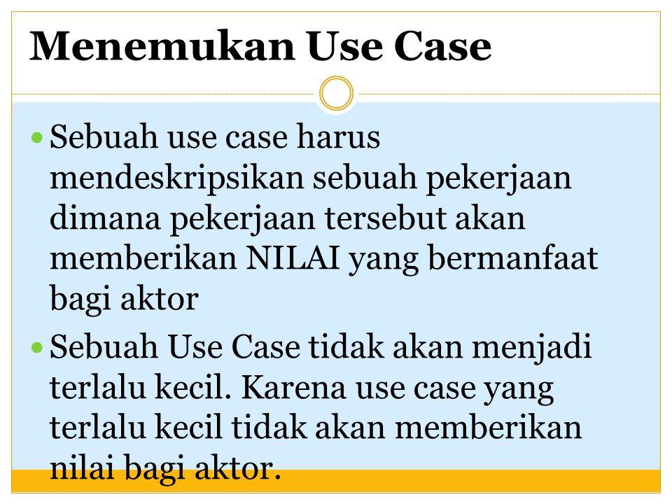 Menemukan Use Case Sebuah use case harus mendeskripsikan sebuah pekerjaan dimana pekerjaan tersebut akan memberikan NILAI yang bermanfaat bagi aktor.