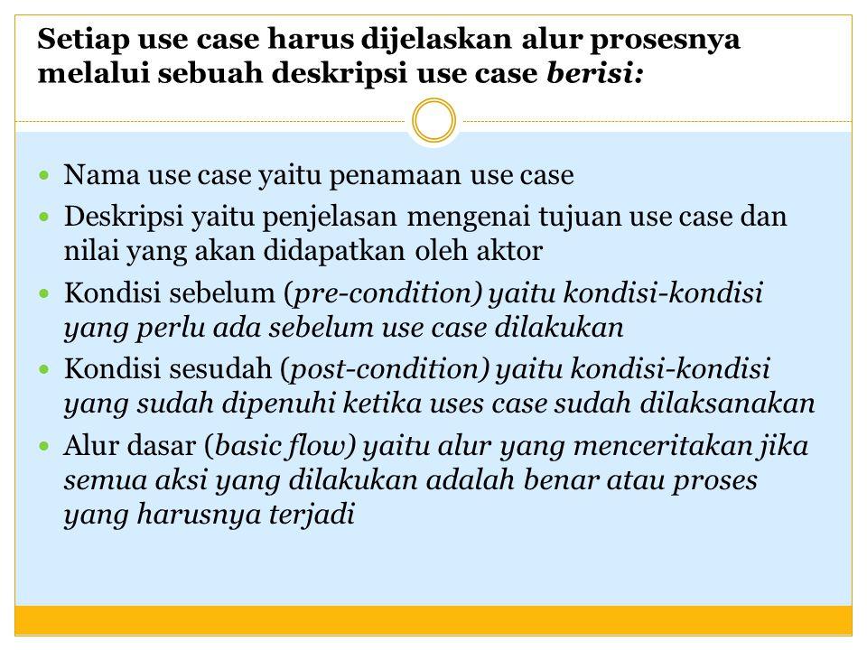 Setiap use case harus dijelaskan alur prosesnya melalui sebuah deskripsi use case berisi: