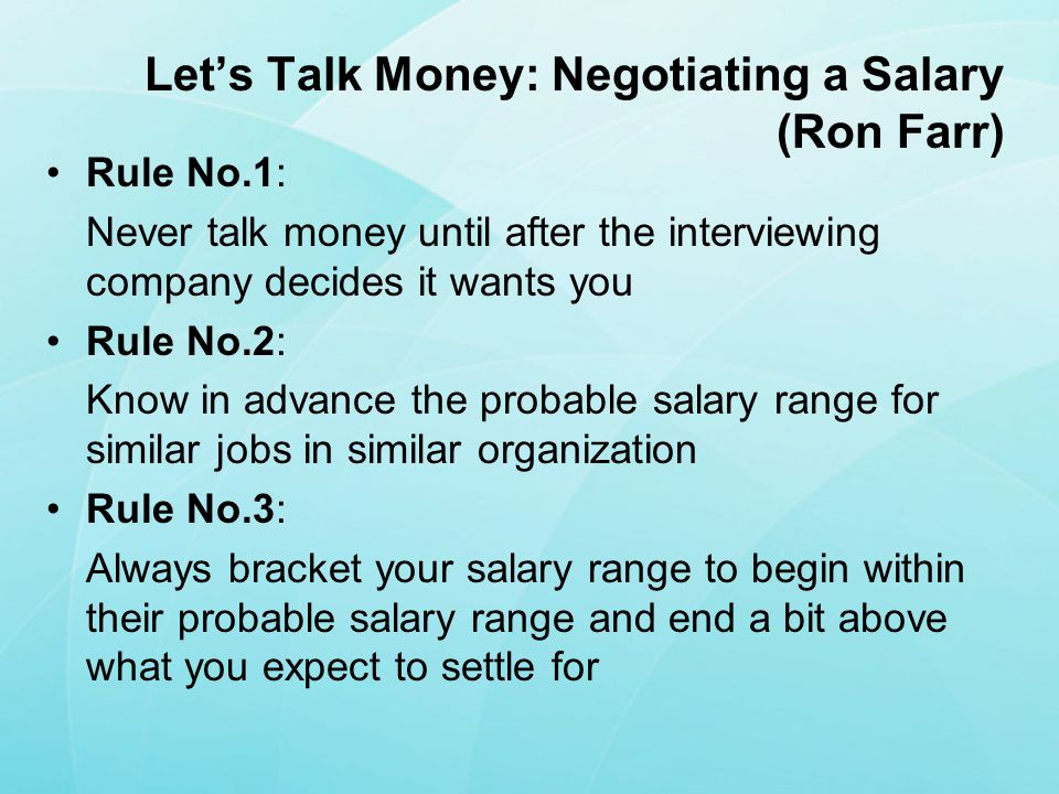 Let's Talk Money: Negotiating a Salary (Ron Farr)
