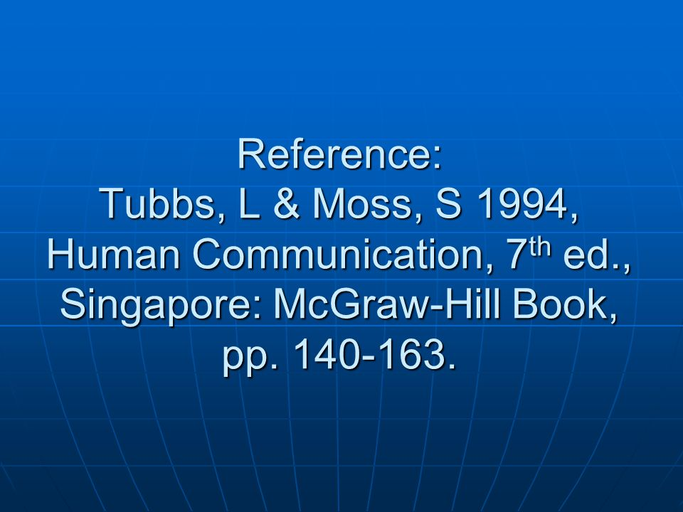 Reference: Tubbs, L & Moss, S 1994, Human Communication, 7th ed