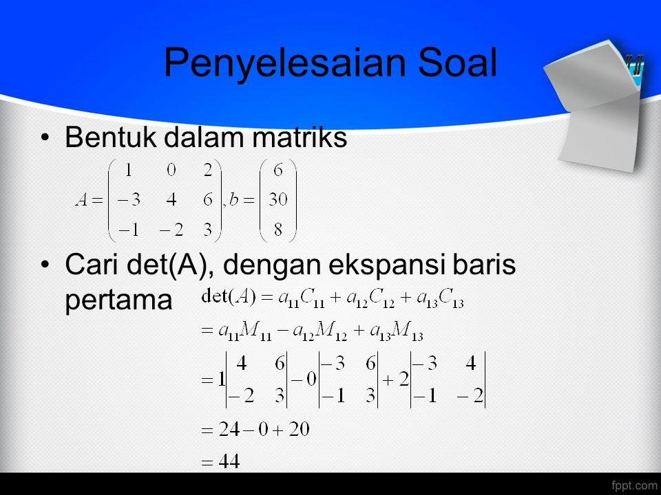 Penyelesaian Soal Bentuk dalam matriks