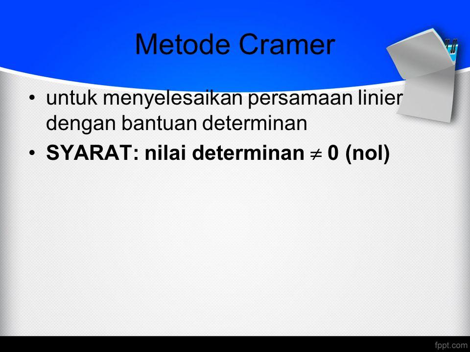 Metode Cramer untuk menyelesaikan persamaan linier dengan bantuan determinan.