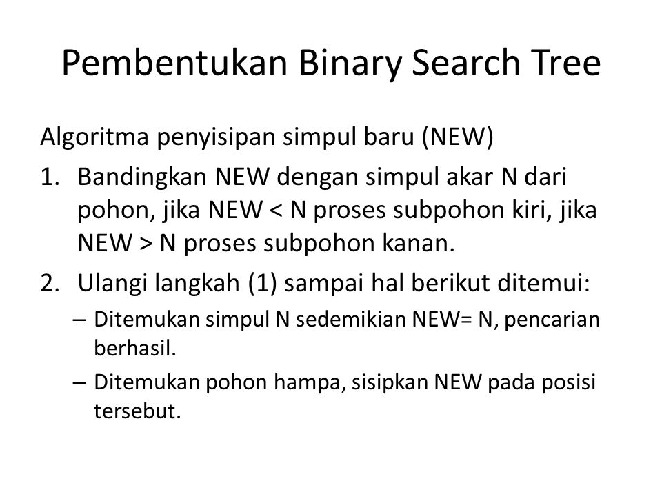 Pembentukan Binary Search Tree