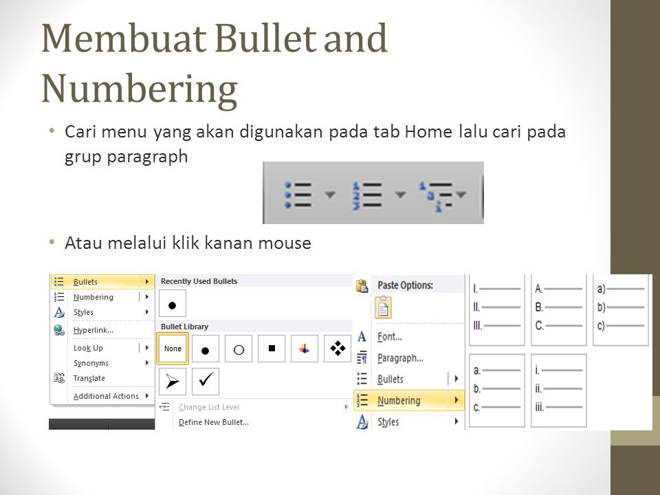 Membuat Bullet and Numbering
