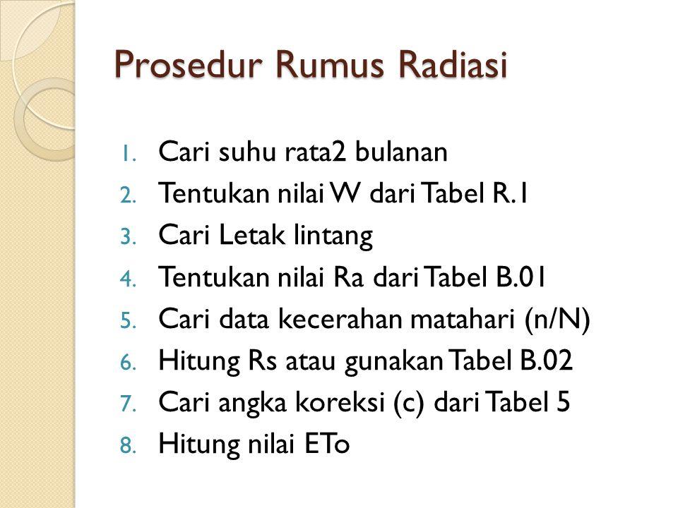 Prosedur Rumus Radiasi