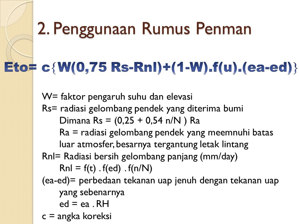 2. Penggunaan Rumus Penman